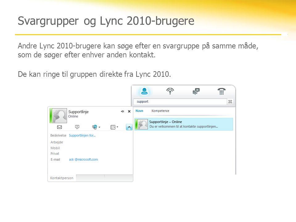 Svargrupper og Lync 2010-brugere