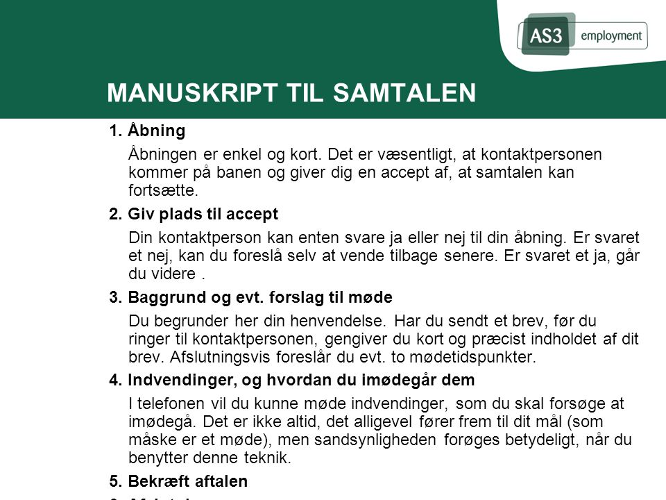 MANUSKRIPT TIL SAMTALEN