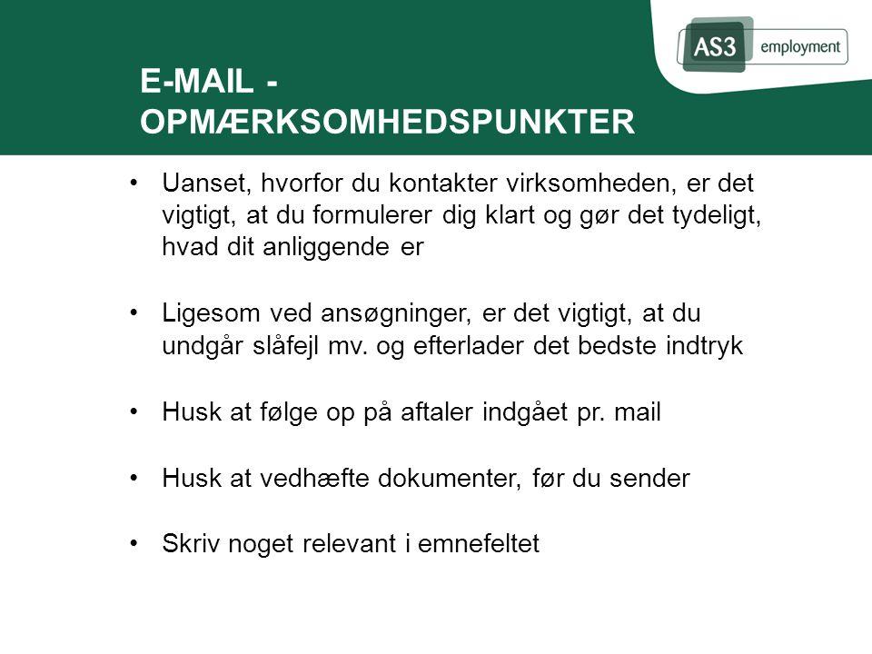 E-MAIL - OPMÆRKSOMHEDSPUNKTER