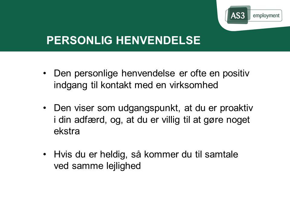 PERSONLIG HENVENDELSE