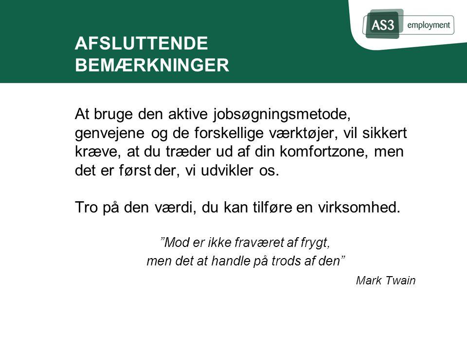 AFSLUTTENDE BEMÆRKNINGER