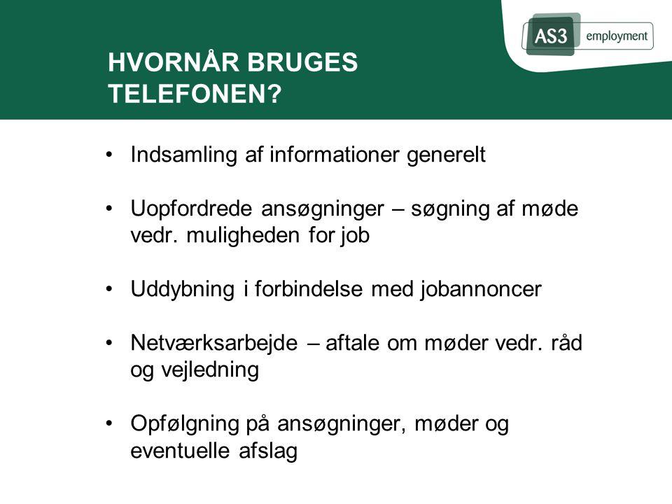 HVORNÅR BRUGES TELEFONEN