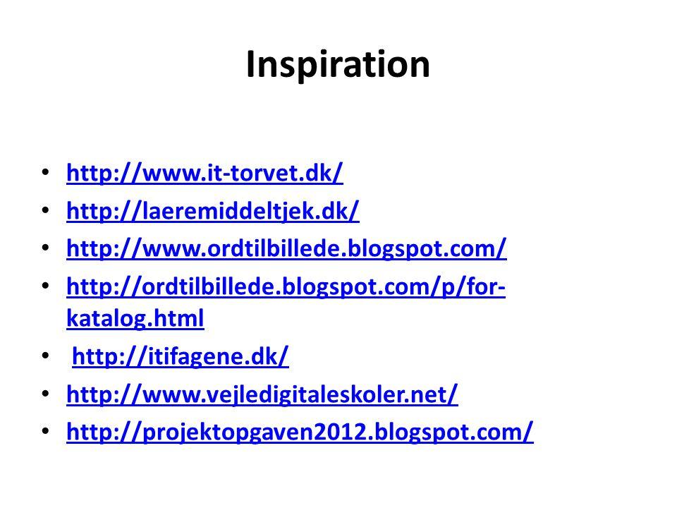 Inspiration http://www.it-torvet.dk/ http://laeremiddeltjek.dk/