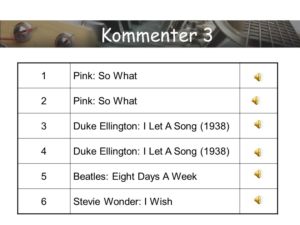 Kommenter 3 1 Pink: So What 2 3 Duke Ellington: I Let A Song (1938) 4