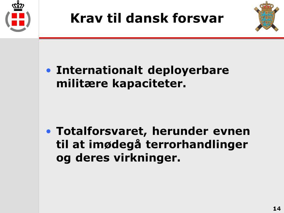 Krav til dansk forsvar Internationalt deployerbare militære kapaciteter.