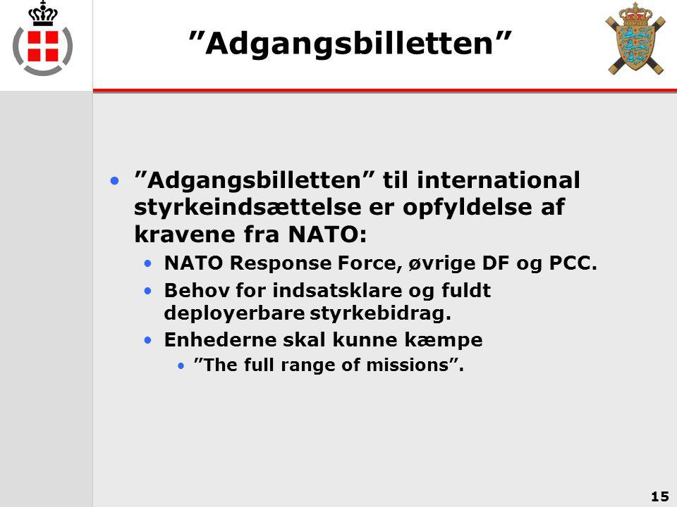 Adgangsbilletten Adgangsbilletten til international styrkeindsættelse er opfyldelse af kravene fra NATO: