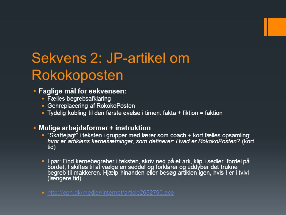 Sekvens 2: JP-artikel om Rokokoposten