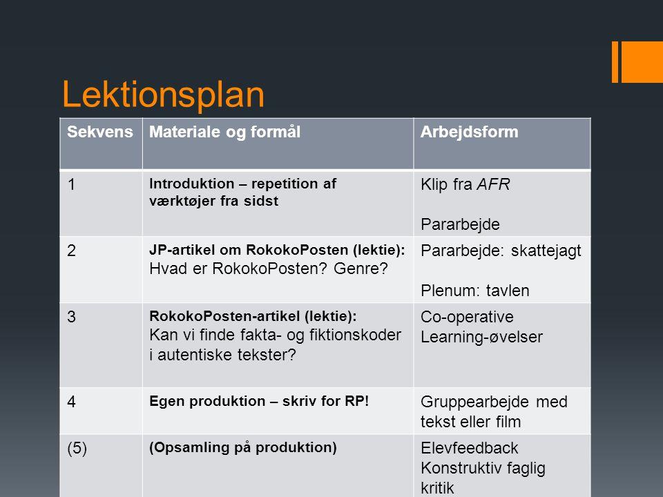 Lektionsplan Sekvens Materiale og formål Arbejdsform 1 Klip fra AFR