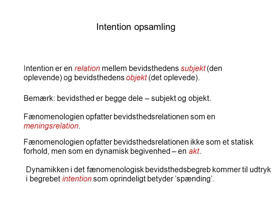 Intention opsamling Intention er en relation mellem bevidsthedens subjekt (den oplevende) og bevidsthedens objekt (det oplevede).