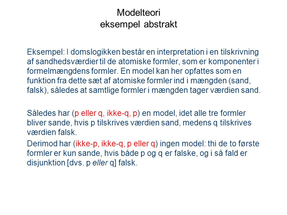 Modelteori eksempel abstrakt