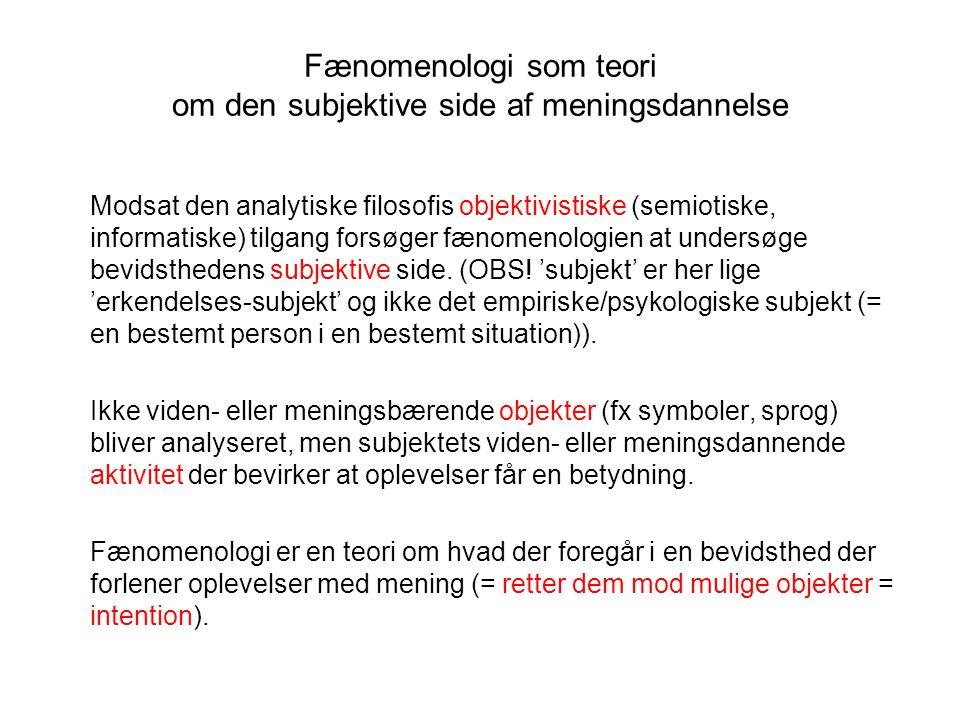 Fænomenologi som teori om den subjektive side af meningsdannelse
