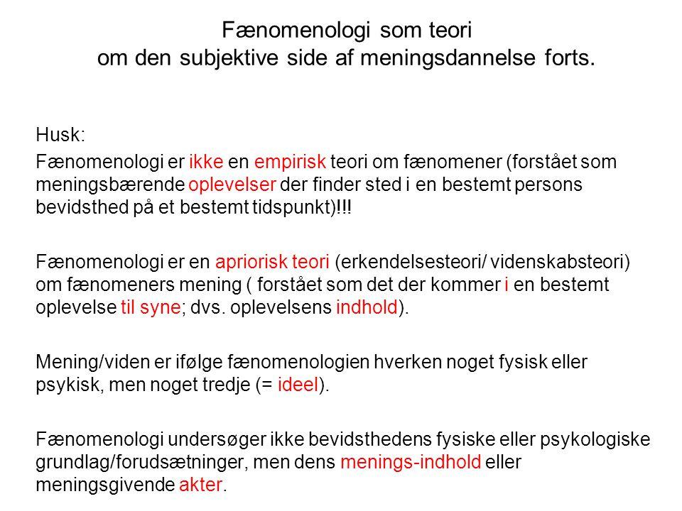 Fænomenologi som teori om den subjektive side af meningsdannelse forts.