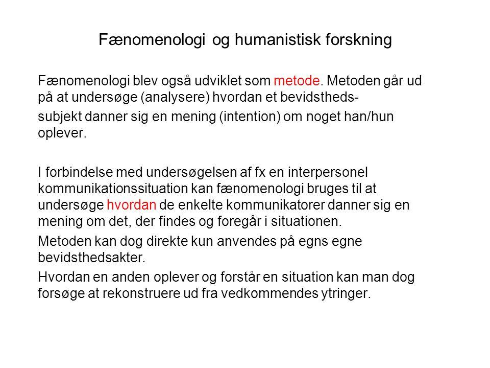 Fænomenologi og humanistisk forskning