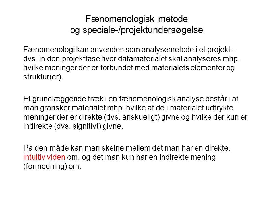 Fænomenologisk metode og speciale-/projektundersøgelse