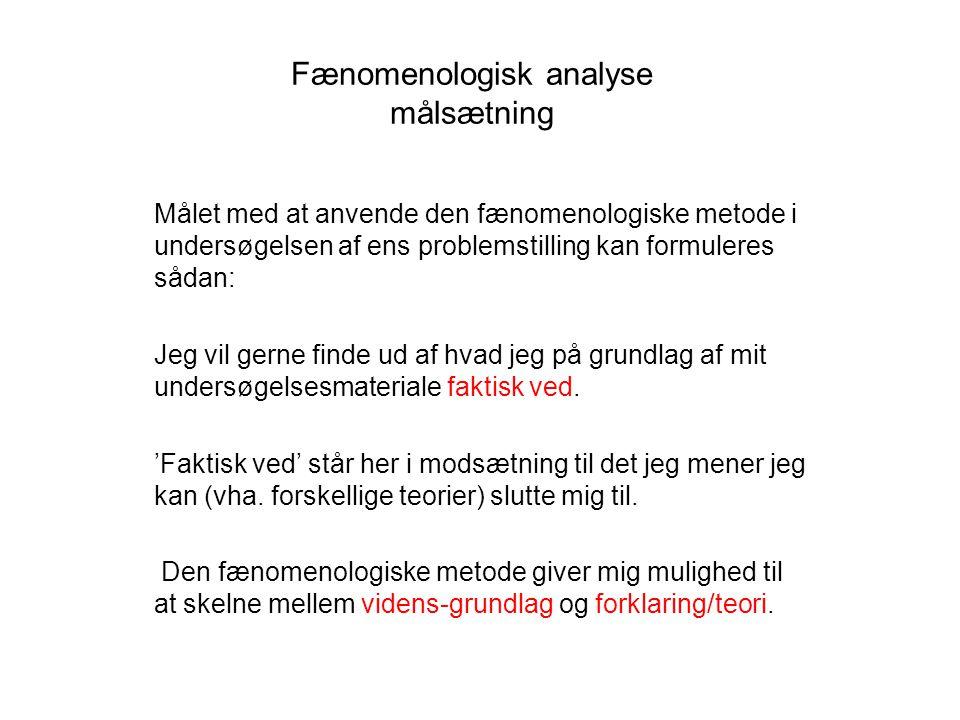 Fænomenologisk analyse målsætning