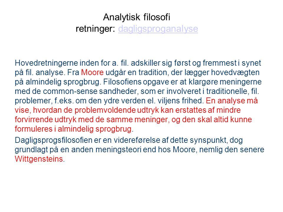 Analytisk filosofi retninger: dagligsproganalyse