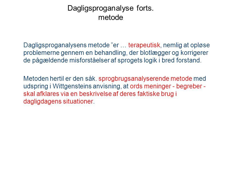 Dagligsproganalyse forts. metode
