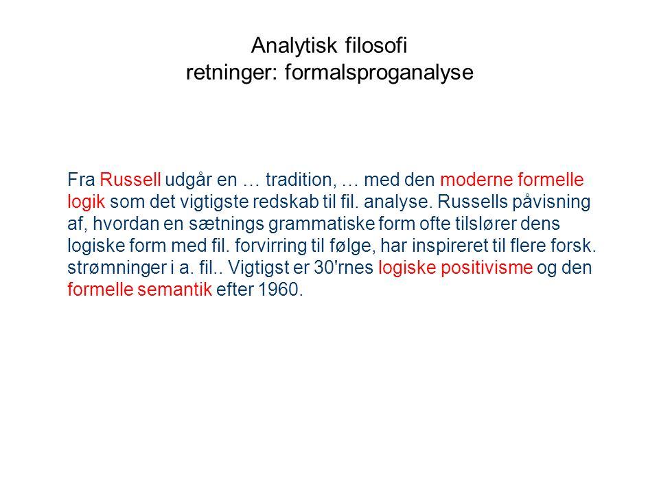Analytisk filosofi retninger: formalsproganalyse