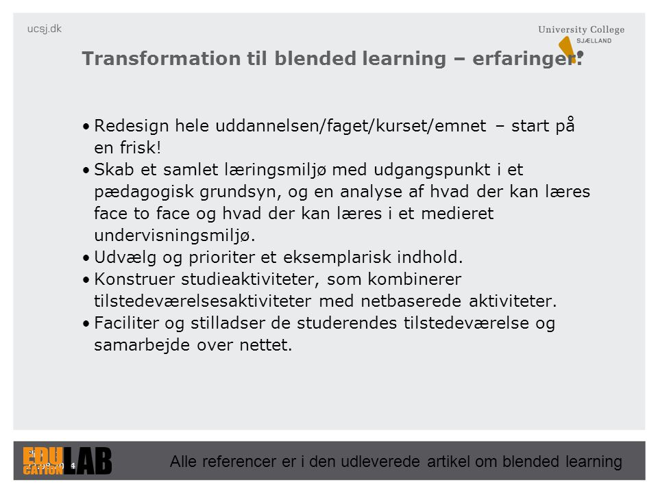 Transformation til blended learning – erfaringer: