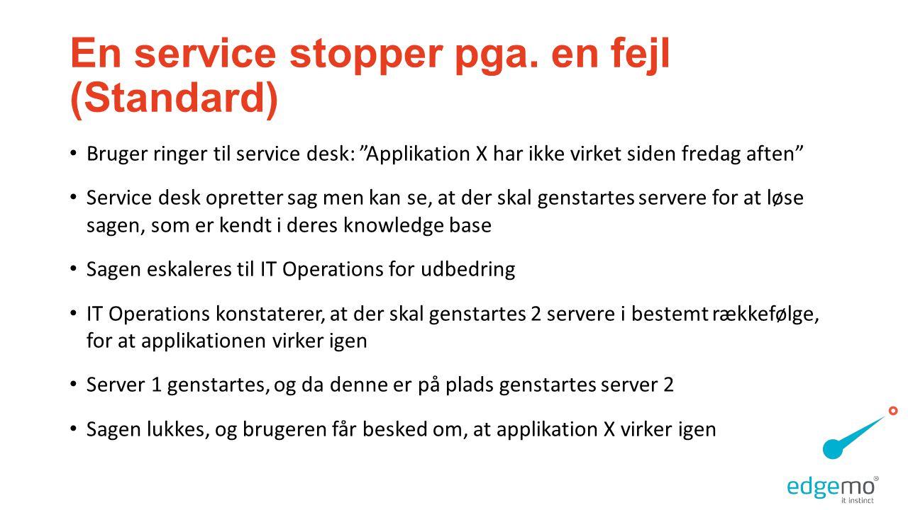 En service stopper pga. en fejl (Standard)
