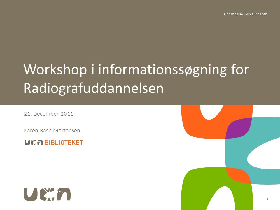 Workshop i informationssøgning for Radiografuddannelsen
