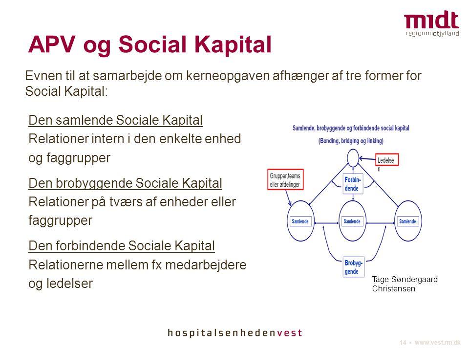 APV og Social Kapital Evnen til at samarbejde om kerneopgaven afhænger af tre former for Social Kapital: