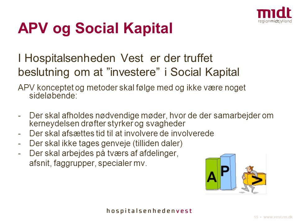 APV og Social Kapital I Hospitalsenheden Vest er der truffet