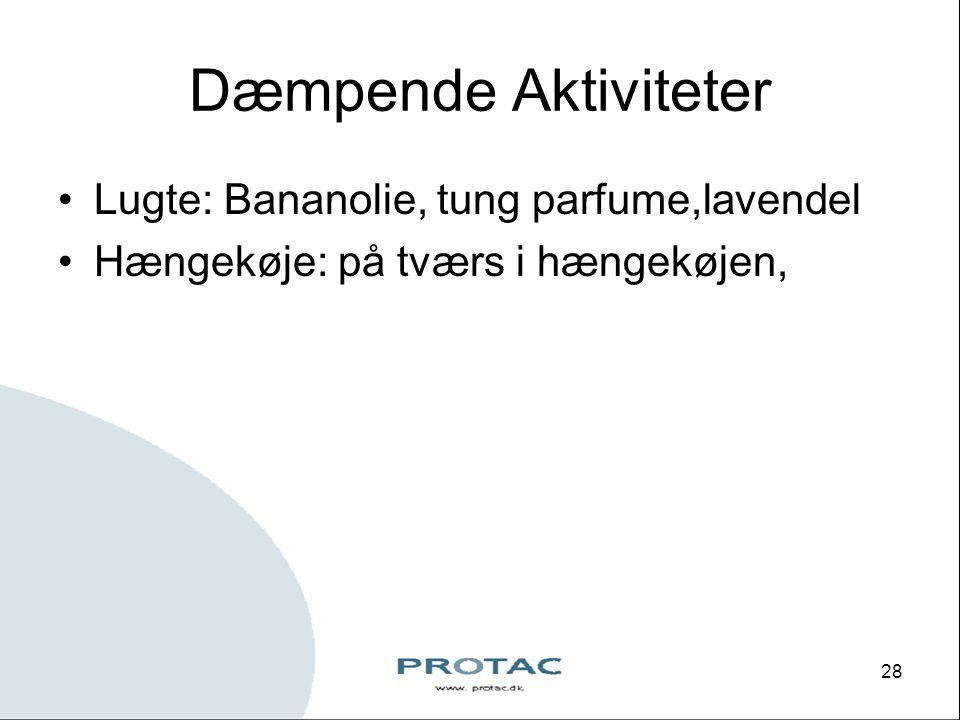Dæmpende Aktiviteter Lugte: Bananolie, tung parfume,lavendel