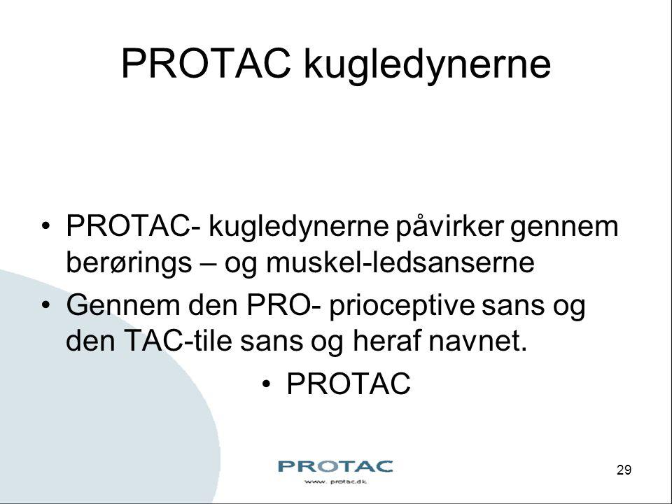 PROTAC kugledynerne PROTAC- kugledynerne påvirker gennem berørings – og muskel-ledsanserne.