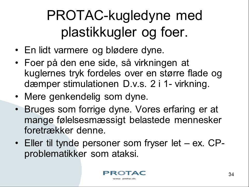 PROTAC-kugledyne med plastikkugler og foer.