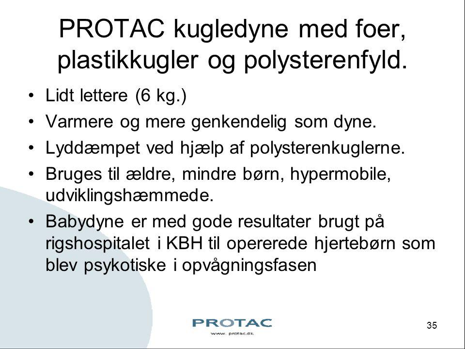 PROTAC kugledyne med foer, plastikkugler og polysterenfyld.