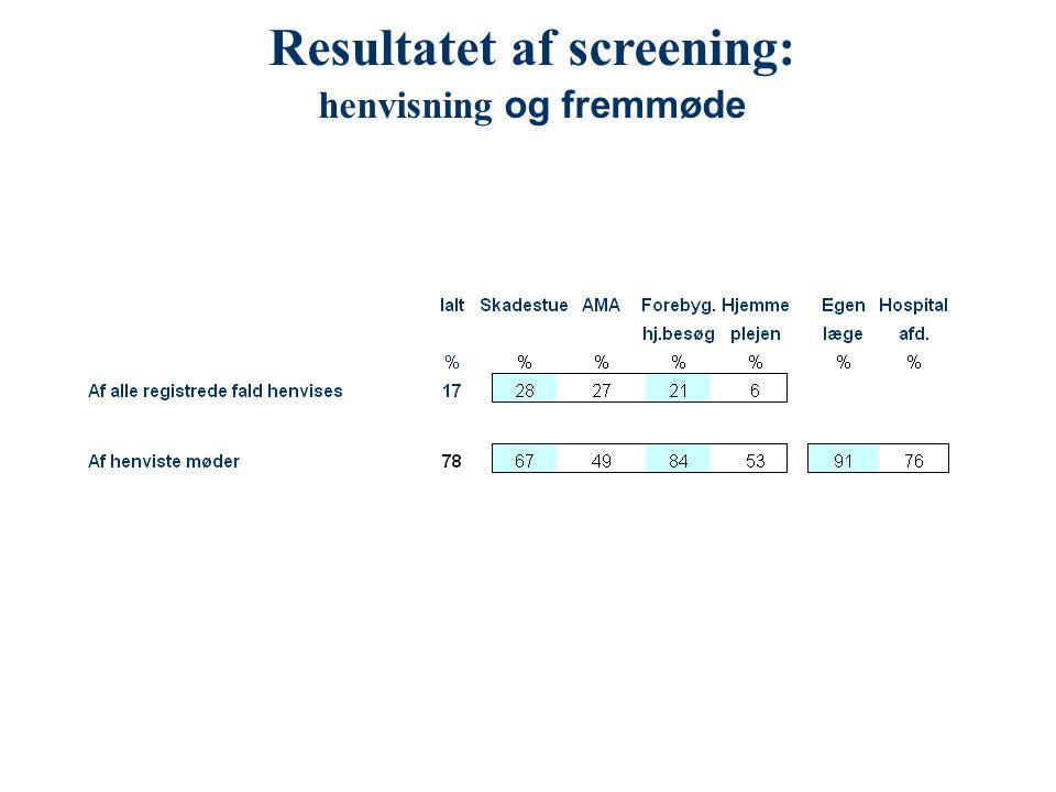 Resultatet af screening: henvisning og fremmøde