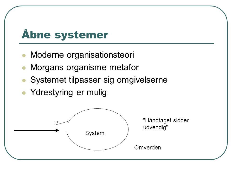 Åbne systemer Moderne organisationsteori Morgans organisme metafor