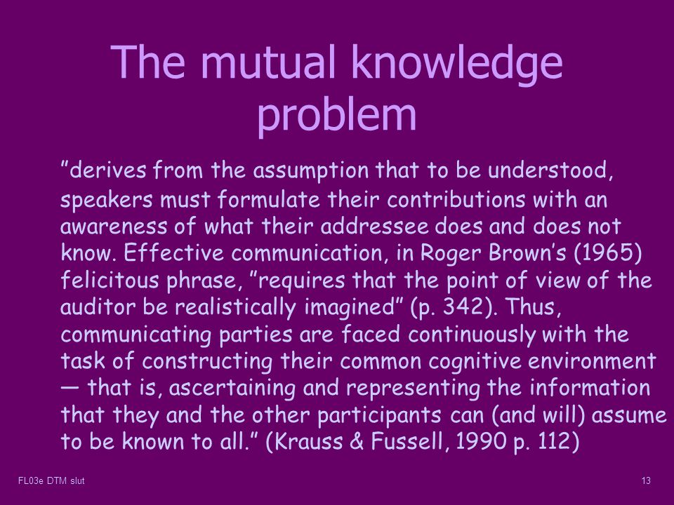The mutual knowledge problem
