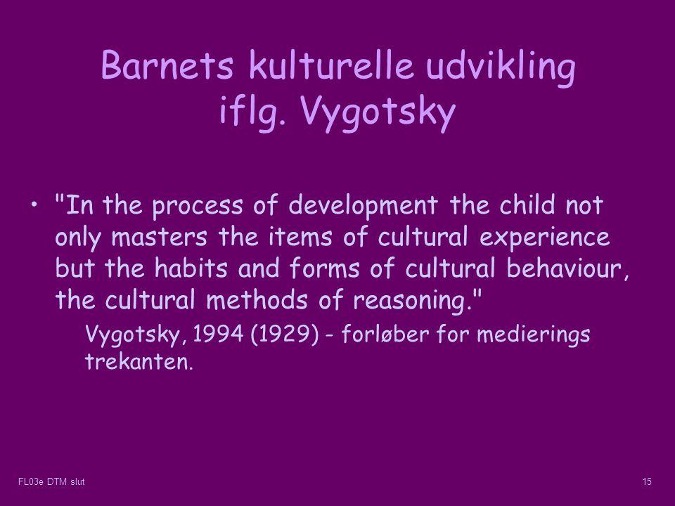 Barnets kulturelle udvikling iflg. Vygotsky