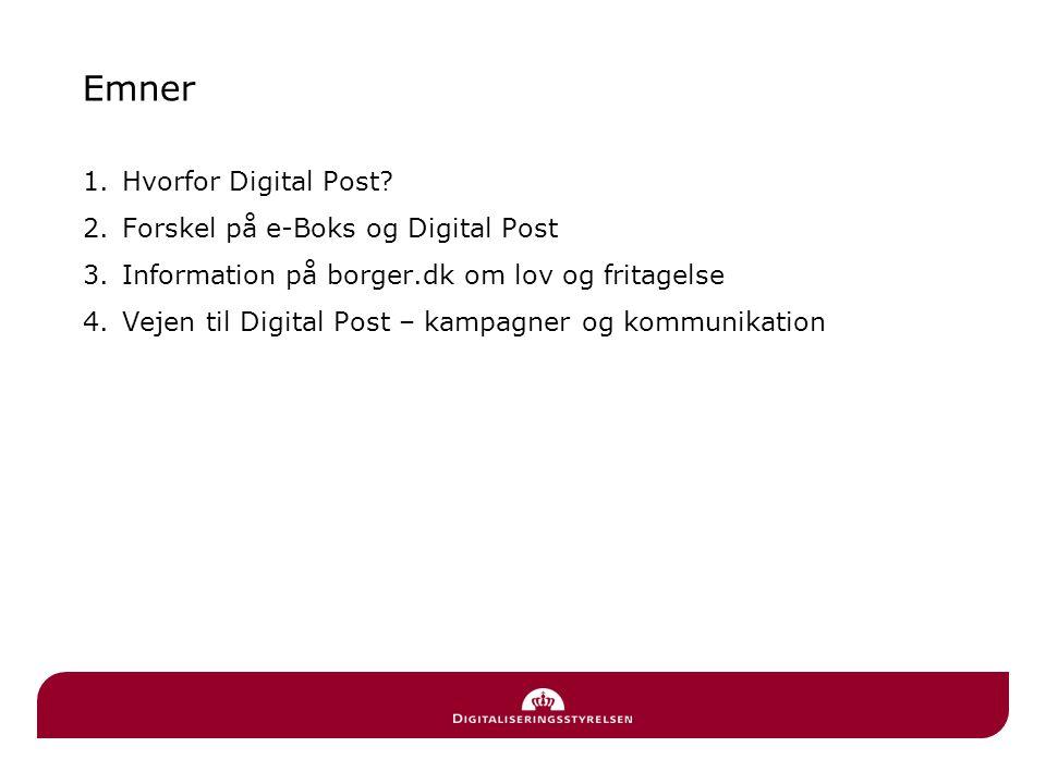 Emner Hvorfor Digital Post Forskel på e-Boks og Digital Post