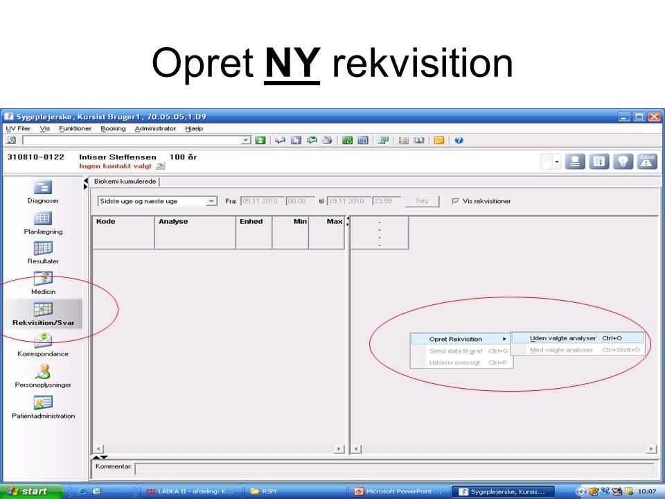 Opret NY rekvisition Vælg rekv/svar