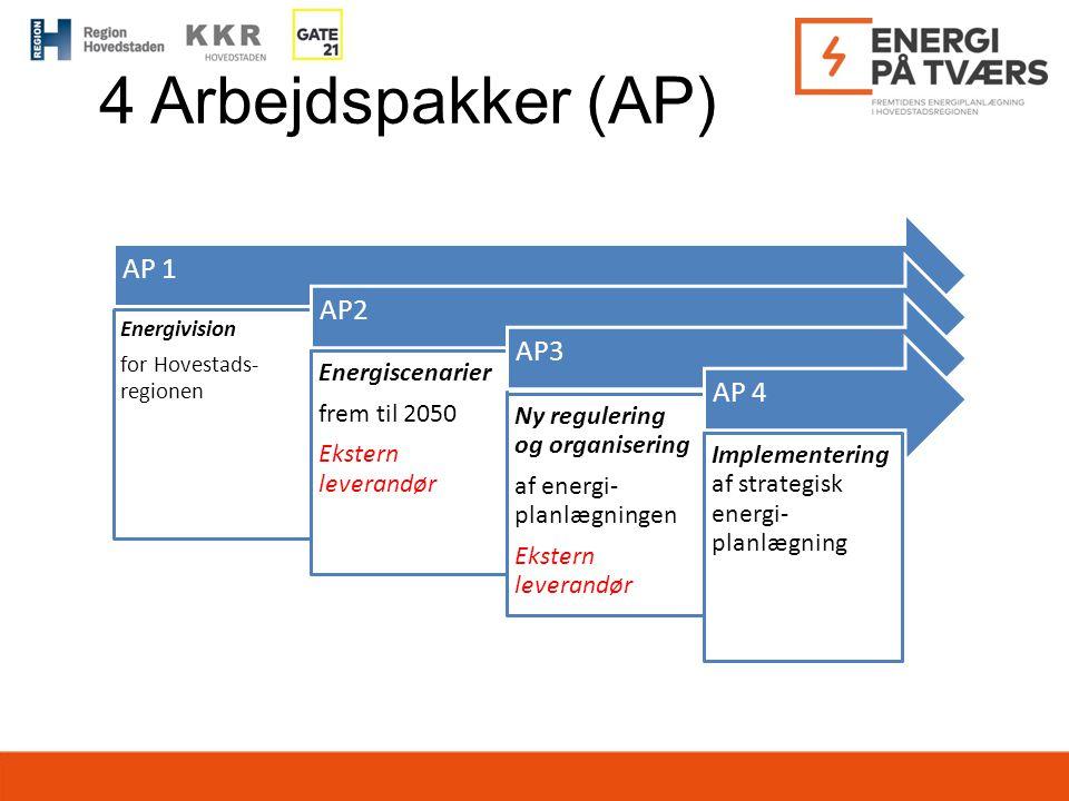 4 Arbejdspakker (AP) AP 1 AP2 AP3 AP 4 Energiscenarier frem til 2050