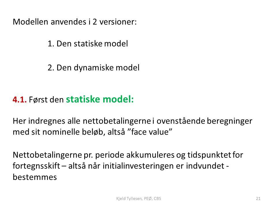 Modellen anvendes i 2 versioner: