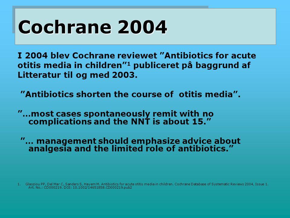 Cochrane 2004 I 2004 blev Cochrane reviewet Antibiotics for acute
