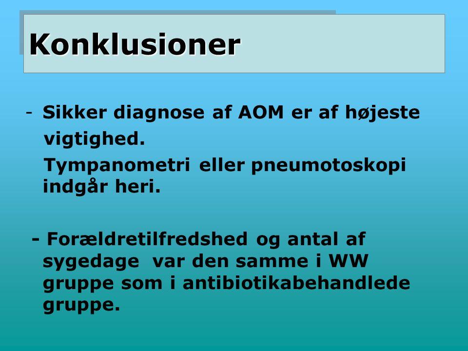Konklusioner Sikker diagnose af AOM er af højeste vigtighed.