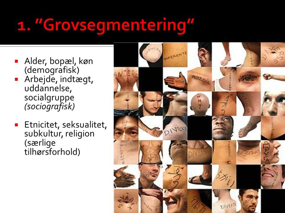1. Grovsegmentering Alder, bopæl, køn (demografisk)