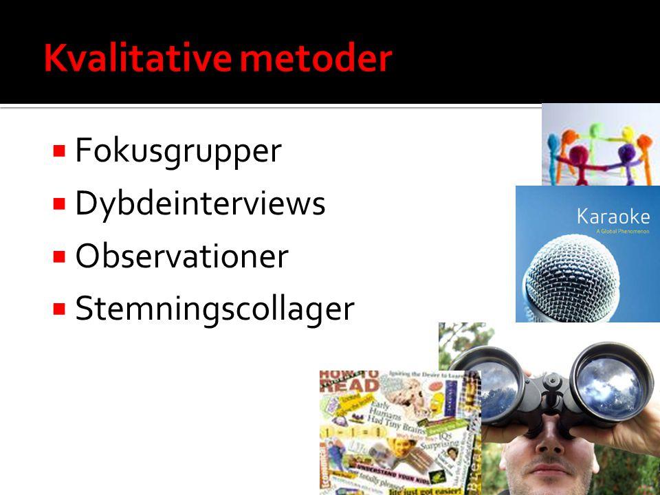 Kvalitative metoder Fokusgrupper Dybdeinterviews Observationer