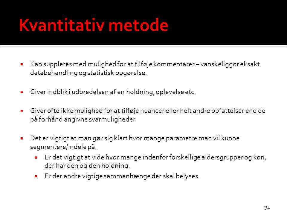 Kvantitativ metode Kan suppleres med mulighed for at tilføje kommentarer – vanskeliggør eksakt databehandling og statistisk opgørelse.