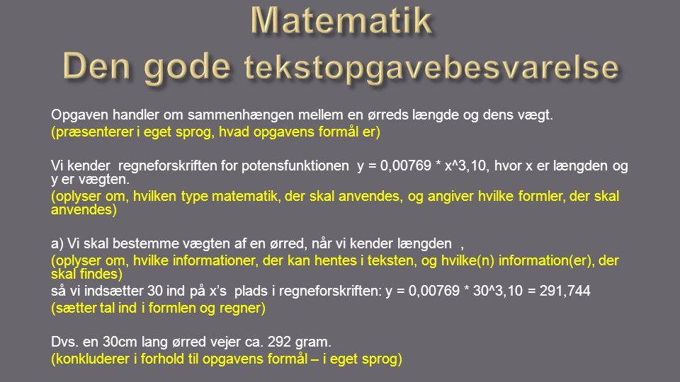 Matematik Den gode tekstopgavebesvarelse