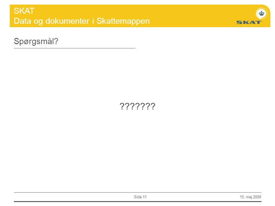 Spørgsmål 13. maj 2009