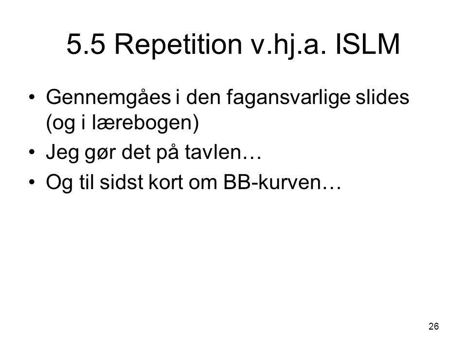 5.5 Repetition v.hj.a. ISLM Gennemgåes i den fagansvarlige slides (og i lærebogen) Jeg gør det på tavlen…
