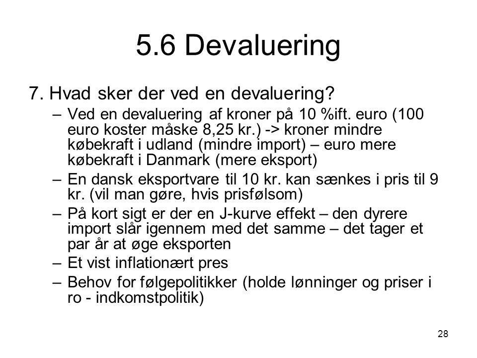 5.6 Devaluering 7. Hvad sker der ved en devaluering