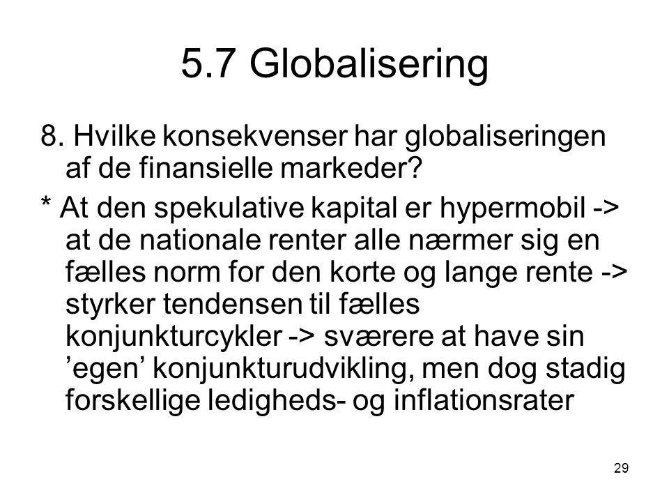 5.7 Globalisering 8. Hvilke konsekvenser har globaliseringen af de finansielle markeder