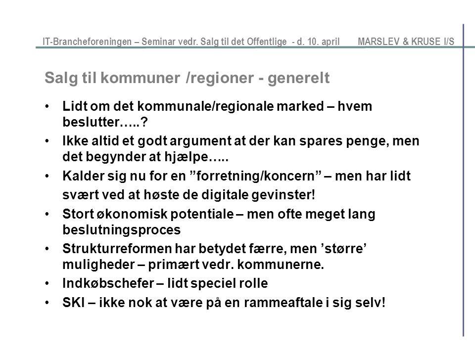 Salg til kommuner /regioner - generelt